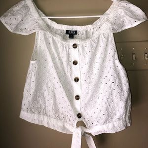 a.n.a white eyelet cropped on or off shoulder top